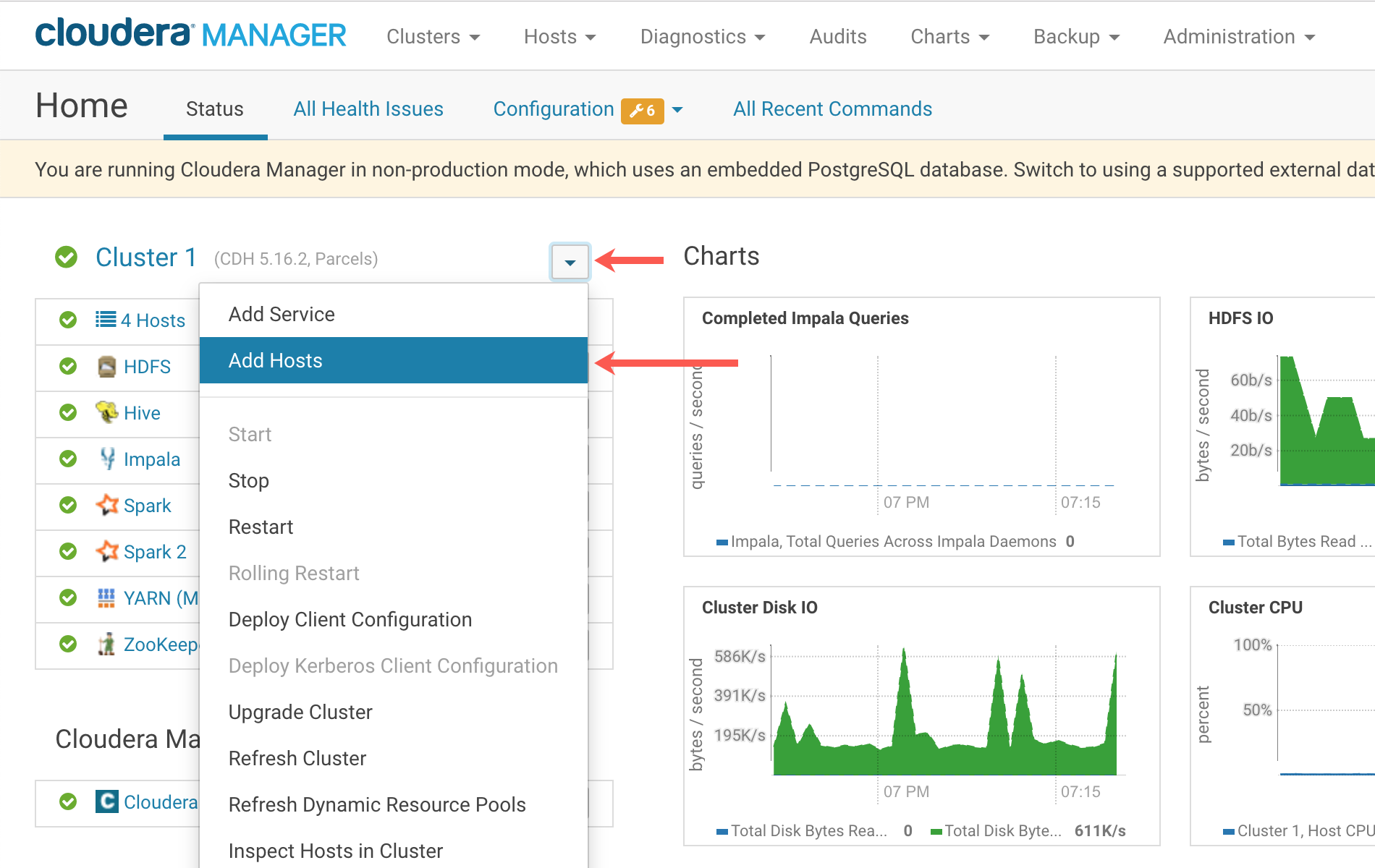 Cloudera Manager dashboard, Add Hosts option UI screenshot