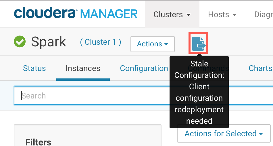 A screenshot of the deploy button with tooltip text displaying that you have a stale configuration and that you need to redeploy your client configuration.
